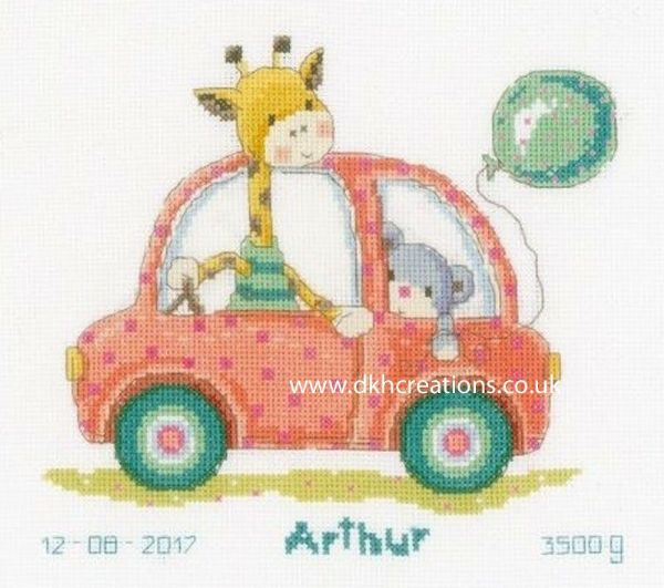 Road Trip With Giraffe And Bear Birth Sampler Cross Stitch Kit